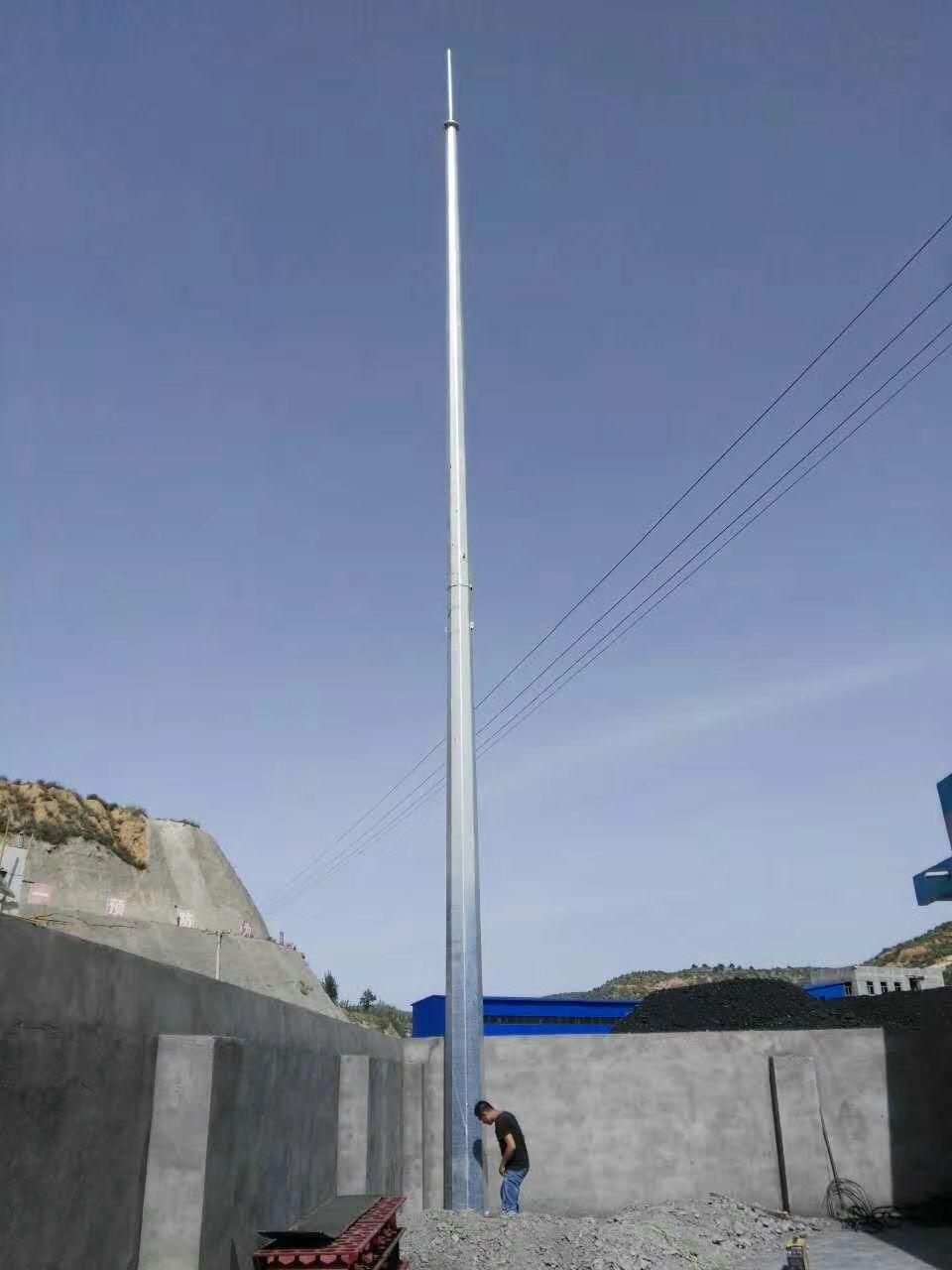 山西阳泉化工厂安装19米环形钢管杆避雷针塔